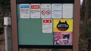 イベント情報・公園での活動や注意事項が貼られた掲示板
